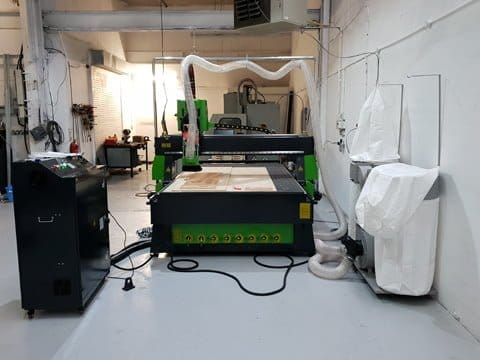 CNC router with 8 station automatic tool change and vacuum pump installed in Oldham, Lancashire.